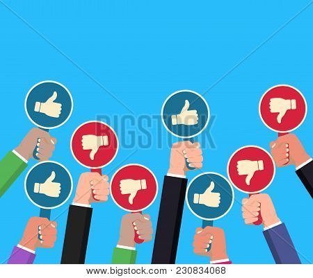Hand Holding Thump Up And Thumbs Down Paddle. Feedback Concept. Hands Rising Signs With Like Inscrip