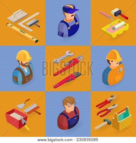 Isometric Interior Repairs Icons Set.  Workers, Equipment And Items. Builders In Uniform, Profession