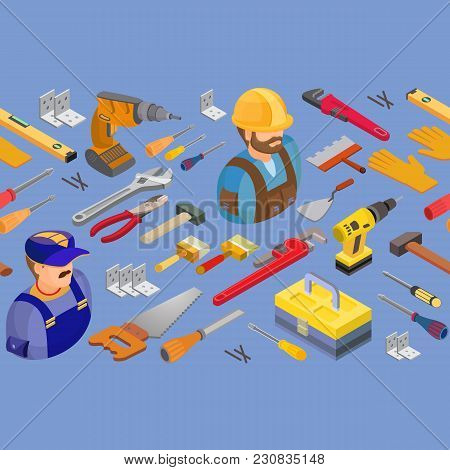 Workers And Tools Seamless Pattern. Builder Or Repair Symbols Isolated On Blue. Isometric Projection