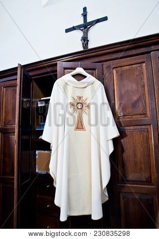 In The Sacristy The Cassock Ready For Holy Mass