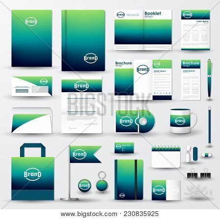 Corporate Identity Template Set. Business Stationery Mock-up With Blue Green Blurred Background And