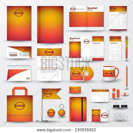 Corporate Identity Template Set With Bright Orange Halftone Texture On Blurred Background. Business