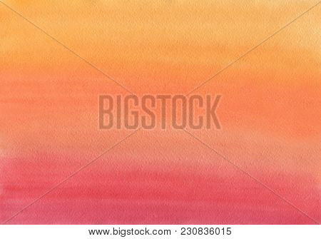 Clean Warm Watercolor Background Uniform Gradient Mixing Of Orange, Red And Carmine