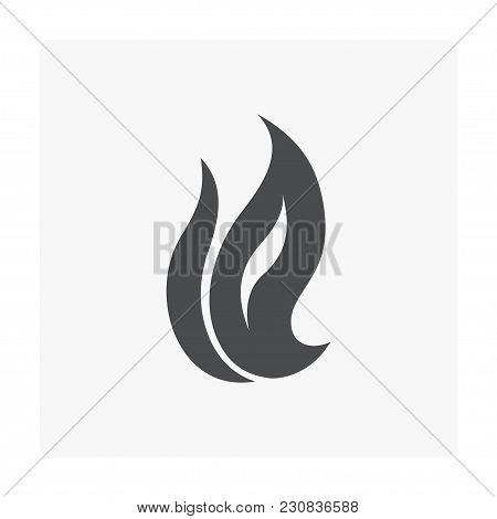 Flammable Design Icon On White, Black Color.