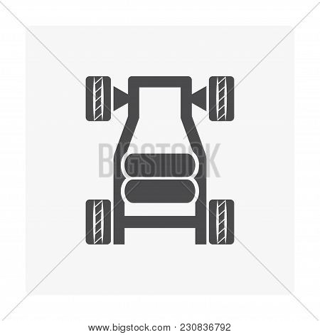 Natural Gas Tank  And Vehicle Icon On White.