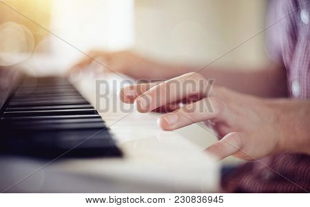 Blurred Background With A Synthesizer