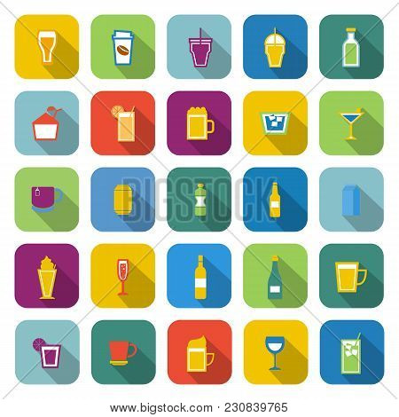 Beverage Color Icons With Long Shadow, Stock Vector