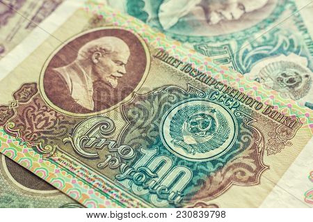 Released From The Turnover Of The Russians (the Former Soviet Union) Money. Vintage Background, Text