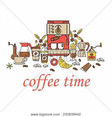 Coffee Time Flat Line Collection Drink Decorative Banner. Modern Icons For Coffee Shop And Coffee Ho