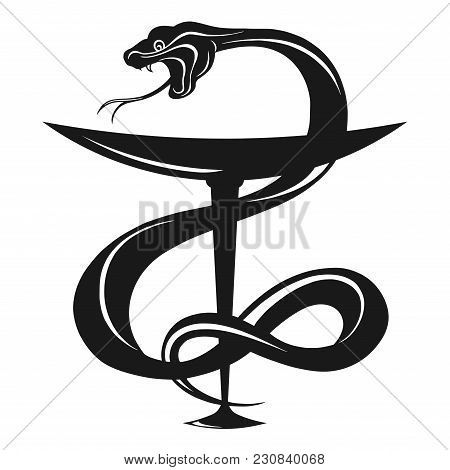 Pharmacy Vector Illustration. Pharmacy Icon With Caduceus Symbol, Bowl With A Snake. Medical Symbol