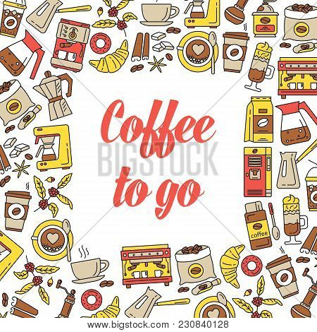 Coffee To Go Background. Flat Line Collection Drink Decorative Icons Behind The Square Shape. Modern