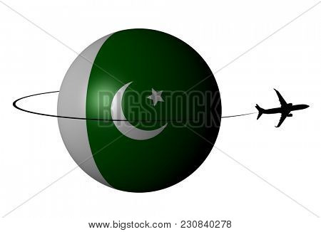 Pakistan flag sphere with plane silhouette and swoosh 3d illustration