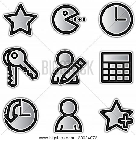 Vector web icons silver contour favorites
