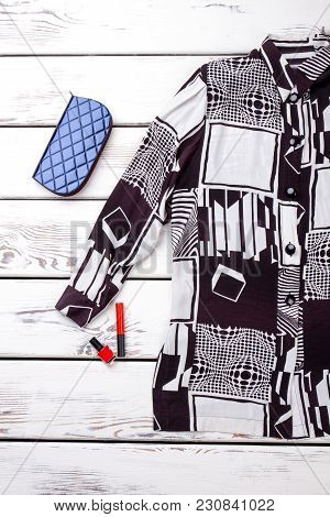 Abstract Modern Shirt With Geometric Objects Print. Blue Wallet, Mascara And Lacquer.