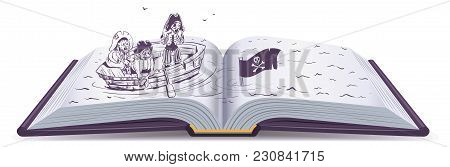 Pirates In Boat Sinking Ship. Open Book Of Adventure. Isolated On White Vector Cartoon Illustration