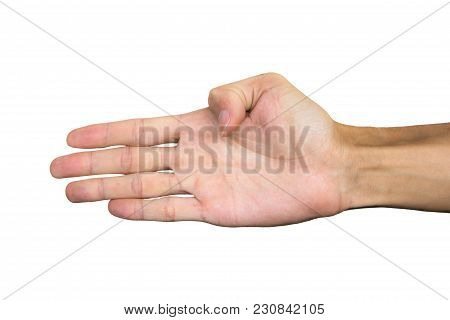Right Palm Hand Isolated On White Background. Clipping Path. Hand Gesture.