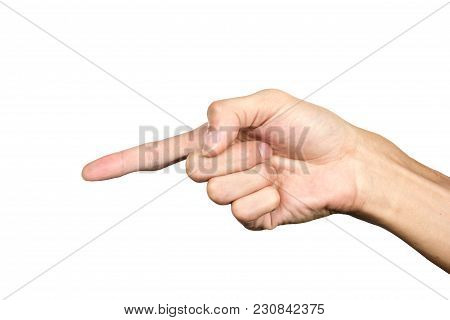 Hand Pointing Finger Isolated On White Background. Hand Language. Hand Gesture.