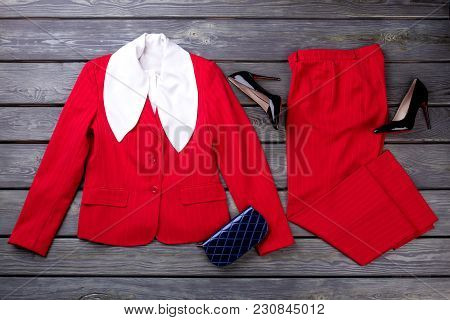 Red Fashion Business Clothes, Flat Lay. Layout Of Fashionable Business Lady Suit With Accessories.