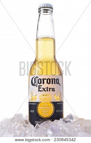 Irvine, California - March 12, 2018: A Bottle Of Corona Extra Beer In Ice. Corona Is The Most Popula