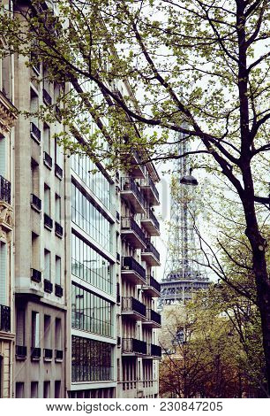 Houses On French Streets Of Paris. Citylife Concept