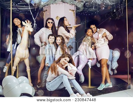 Lifestyle And People Concept: Young Pretty Diversity Nations Woman With Different Age Children Celeb