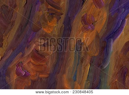 Big Overlapping Brushstrokes Of Oil Painting Texture. Abstract Cliff Wall In Dark Red And Purple Col