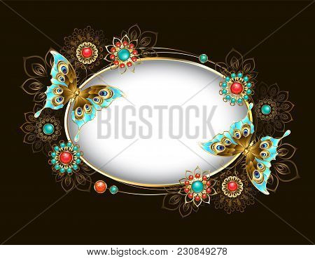 Oval Banner Adorned With Turquoise Butterflies And Ethnic, Jeweled Ornaments Encrusted With Turquois