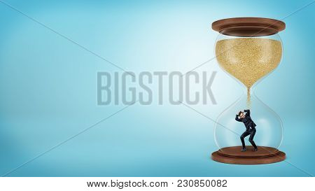 A Tiny Businessman Stands Inside A Hourglass When The Sand Only Starts To Fall Over Him. Fight Again