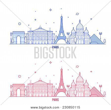 Paris Skyline, France. This Illustration Represents The City With Its Most Notable Buildings. Vector