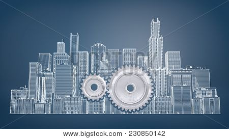 3d Rendering Of A Two Interlocking Gears Inside A Large Drawn Picture Of City Buildings On A Blue Ba