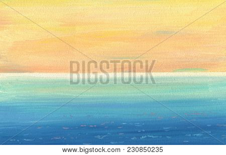 Smooth Oil Painting Texture And Colors Of Calm Sea And Sky With Distant Horizon. View From A High Co