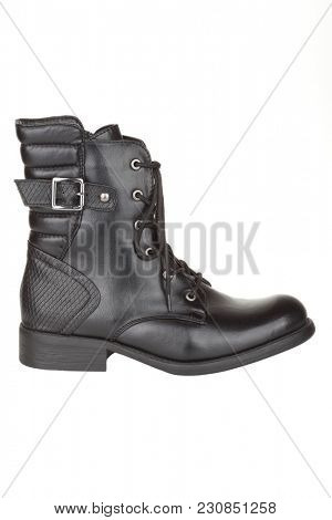 Black ankle boot isolated on white