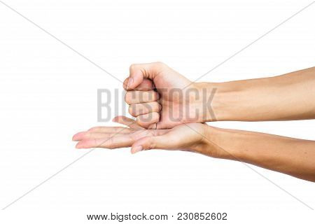 Hand Gesture The Fist Smashed Into The Palm. Right Hand Fist And Left Hand Open Up. Hand Can Use Man