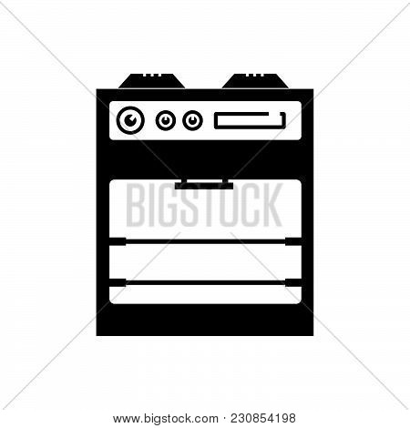Kitchen Oven Vector Icon On White Background. Kitchen Oven Modern Icon For Graphic And Web Design. K
