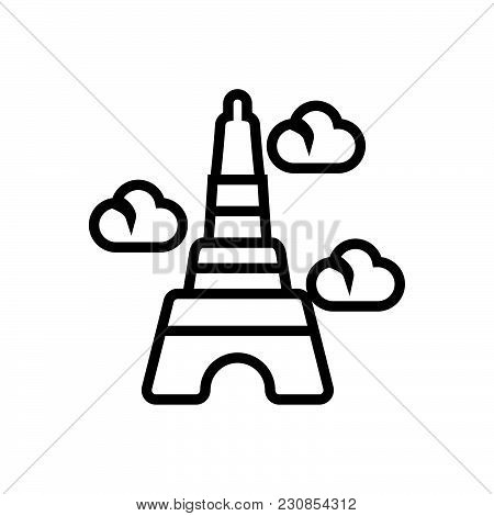 Eiffel Tower Vector Icon On White Background. Eiffel Tower Modern Icon For Graphic And Web Design. E