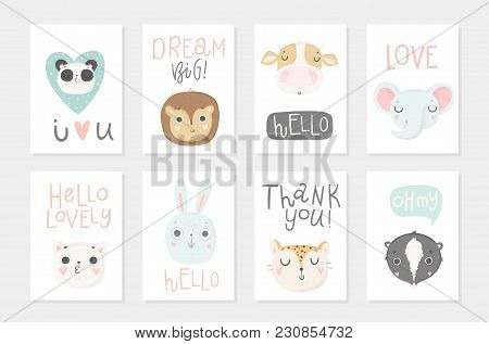 Collection Of 8 Baby Shower Posters. Cards With Cute Animals And Hand Drawn Lettering On White Backg