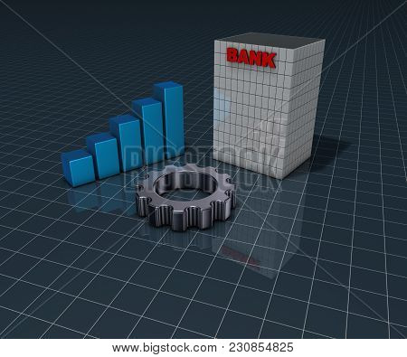 Bank Building, Business Graph And Gear Wheel - 3d Rendering