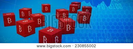 Several red cube with bit coin sign on each side against stocks and shares