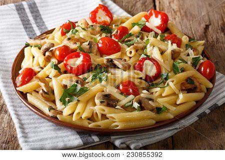 Traditional Italian Vegetarian Penne Pasta With Mushrooms, Cherry Tomatoes, Pepper Closeup. Horizont