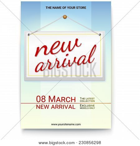 New Arrival Poster With Text Design For Your Shop. Hanging Tag With The Inscription On The Arrival O