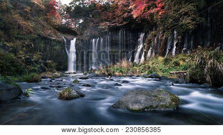 Slow Shutter Shot Of The Beautiful Shiraito Falls