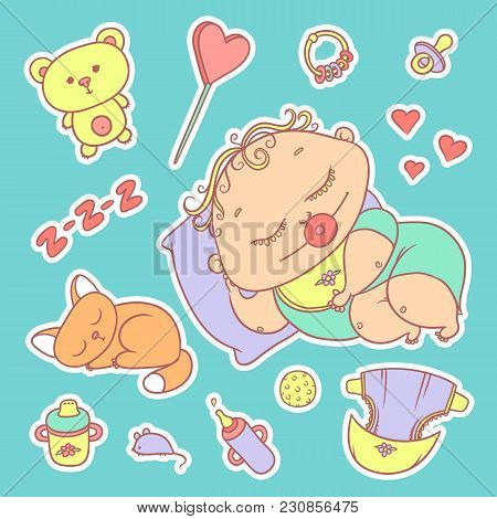 Stickers Sleeping Child And Kitten. Hygiene Items, Baby Care And Toys. The Chubby Curly Asleep Kid W
