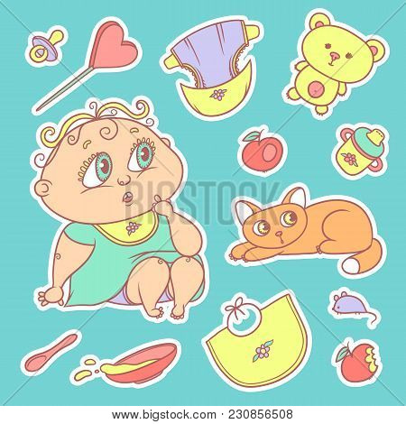 Stickers Of The Surprised Child And The Kitten. Hygiene Items, Baby Care And Toys. The Chubby Curly