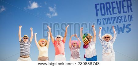 Forever is composed of nows against happy senior friends jumping