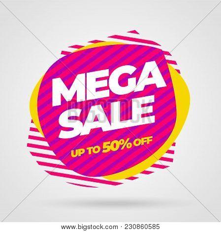 Sale Banner Template Design, Mega Sale Special Offer. Vector Illustration.