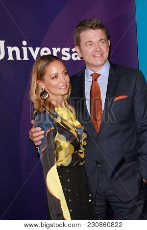 Nicole Richie and John Michael Higgins arrive at the 2018 NBCUniversal Winter Press Tour at The Langham Huntington Hotel in Pasadena, California on January 9, 2018.