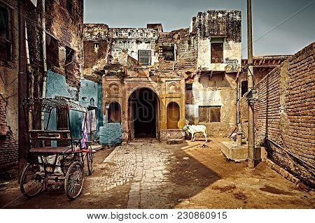 Old Street Of Holy Indian Town Vrindavan. Uttar Pradesh, India.