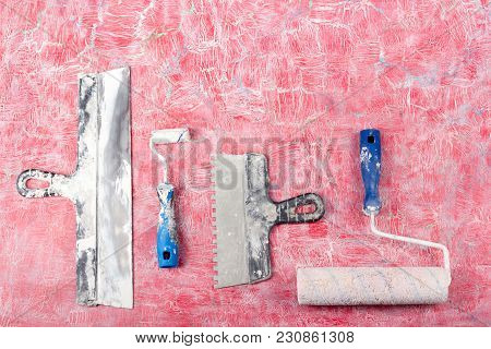 Professional Repairing Implements For Decorating And Building Renovation Set, Wall In The Background