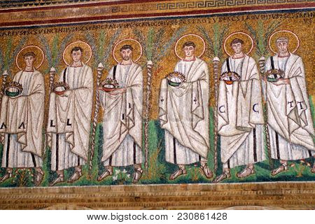 RAVENNA, ITALY - JUNE 15, 2017: Mosaics in the Basilica of Sant'Apollinare Nuovo which was erected in VI century. Early Christian Monuments of Ravenna is listed as UNESCO World Heritage