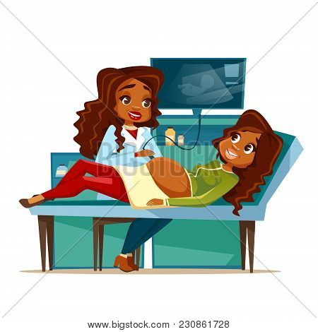 Pregnant Woman On Obstetric Ultrasound Vector Cartoon Illustration Of Pregnancy Medical Examination.